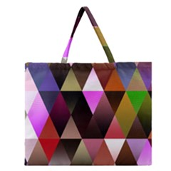 Triangles Abstract Triangle Background Pattern Zipper Large Tote Bag by Simbadda