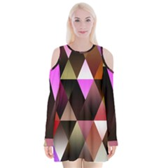 Triangles Abstract Triangle Background Pattern Velvet Long Sleeve Shoulder Cutout Dress