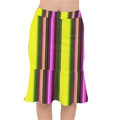 Stripes Abstract Background Pattern Mermaid Skirt