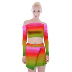 Watercolour Abstract Paint Digitally Painted Background Texture Off Shoulder Top With Skirt Set
