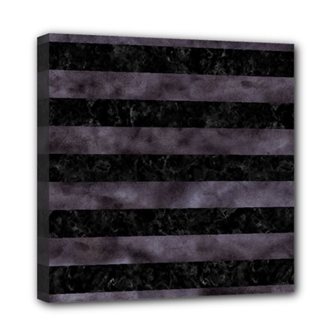 Stripes2 Black Marble & Black Watercolor Mini Canvas 8  X 8  (stretched) by trendistuff