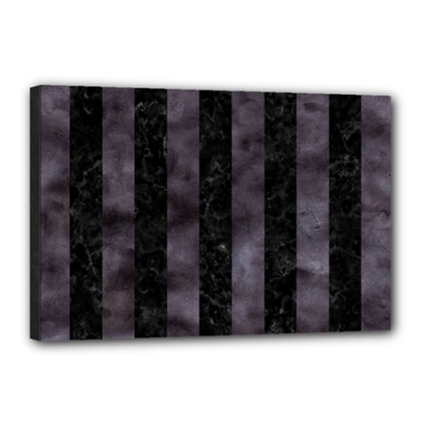 Stripes1 Black Marble & Black Watercolor Canvas 18  X 12  (stretched) by trendistuff