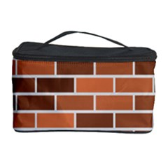 Brick Brown Line Texture Cosmetic Storage Case by Mariart