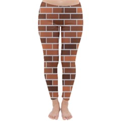 Brick Brown Line Texture Classic Winter Leggings by Mariart