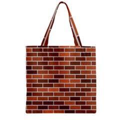 Brick Brown Line Texture Zipper Grocery Tote Bag by Mariart