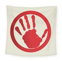 Bloody Handprint Stop Emob Sign Red Circle Square Tapestry (large) by Mariart