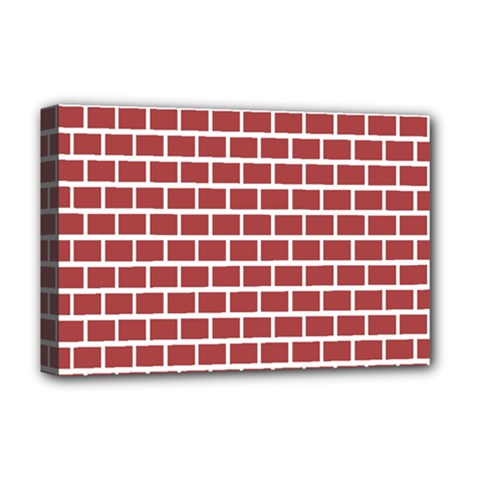 Brick Line Red White Deluxe Canvas 18  X 12   by Mariart