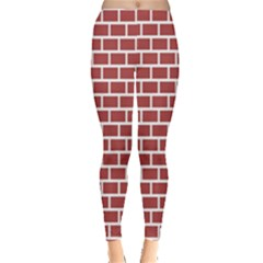 Brick Line Red White Leggings  by Mariart