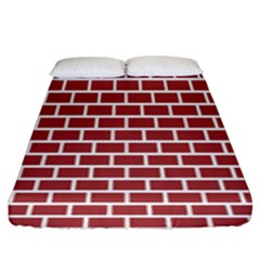 Brick Line Red White Fitted Sheet (king Size) by Mariart