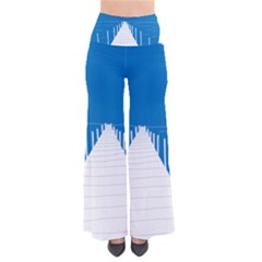 Bridge Sea Beack Blue White Pants by Mariart