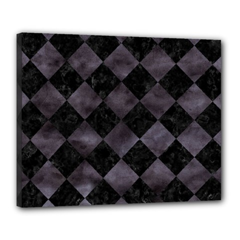 Square2 Black Marble & Black Watercolor Canvas 20  X 16  (stretched) by trendistuff