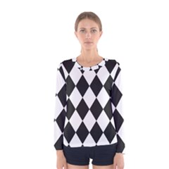 Broken Chevron Wave Black White Women s Long Sleeve Tee by Mariart
