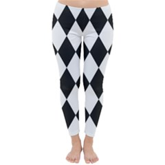 Broken Chevron Wave Black White Classic Winter Leggings by Mariart