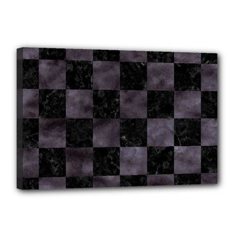 Square1 Black Marble & Black Watercolor Canvas 18  X 12  (stretched) by trendistuff