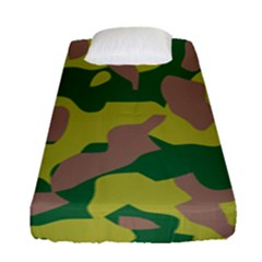 Camouflage Green Yellow Brown Fitted Sheet (single Size) by Mariart