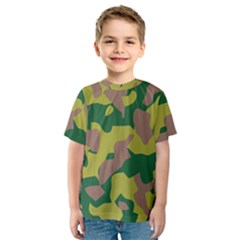 Camouflage Green Yellow Brown Kids  Sport Mesh Tee by Mariart