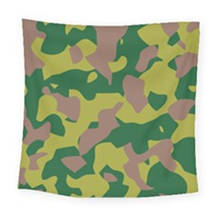 Camouflage Green Yellow Brown Square Tapestry (large) by Mariart