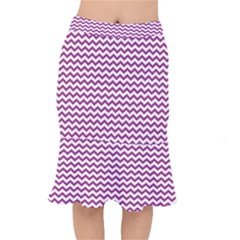 Chevron Wave Purple White Mermaid Skirt