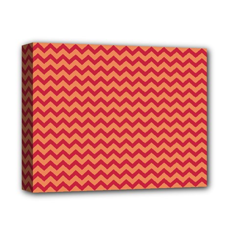 Chevron Wave Red Orange Deluxe Canvas 14  X 11  by Mariart