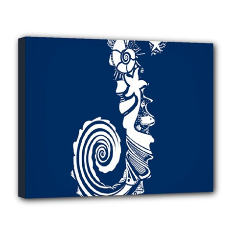Coral Life Sea Water Blue Fish Star Canvas 14  X 11  by Mariart