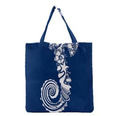 Coral Life Sea Water Blue Fish Star Grocery Tote Bag by Mariart