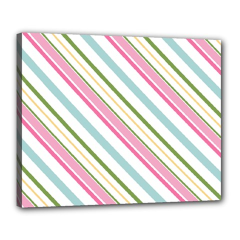 Diagonal Stripes Color Rainbow Pink Green Red Blue Canvas 20  X 16  by Mariart
