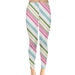 Diagonal Stripes Color Rainbow Pink Green Red Blue Leggings  by Mariart