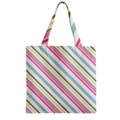 Diagonal Stripes Color Rainbow Pink Green Red Blue Zipper Grocery Tote Bag by Mariart