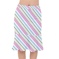Diagonal Stripes Color Rainbow Pink Green Red Blue Mermaid Skirt