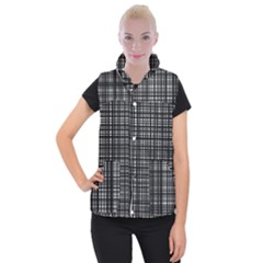 Crosshatch Target Line Black Women s Button Up Puffer Vest by Mariart