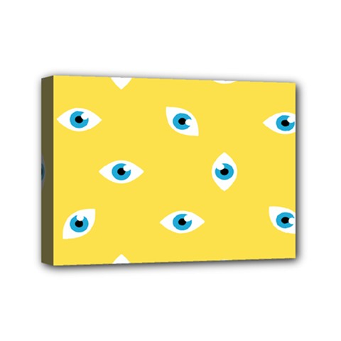 Eye Blue White Yellow Monster Sexy Image Mini Canvas 7  X 5  by Mariart