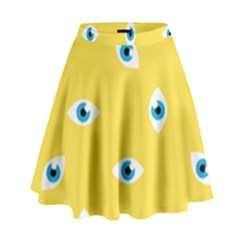 Eye Blue White Yellow Monster Sexy Image High Waist Skirt by Mariart