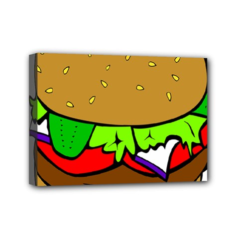 Fast Food Lunch Dinner Hamburger Cheese Vegetables Bread Mini Canvas 7  X 5  by Mariart