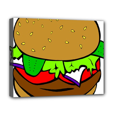 Fast Food Lunch Dinner Hamburger Cheese Vegetables Bread Deluxe Canvas 20  X 16   by Mariart