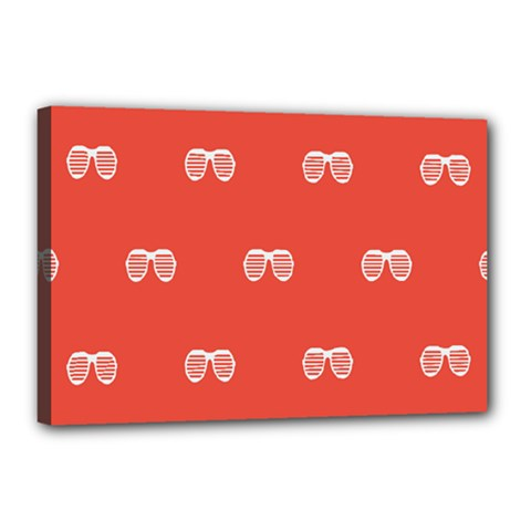 Glasses Disco Retina Red White Line Canvas 18  X 12  by Mariart