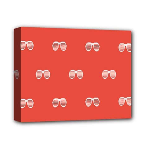 Glasses Disco Retina Red White Line Deluxe Canvas 14  X 11  by Mariart
