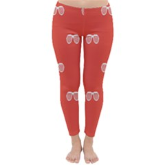 Glasses Disco Retina Red White Line Classic Winter Leggings by Mariart
