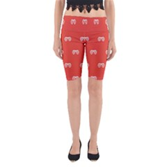 Glasses Disco Retina Red White Line Yoga Cropped Leggings by Mariart