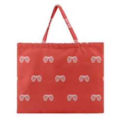 Glasses Disco Retina Red White Line Zipper Large Tote Bag by Mariart