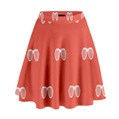 Glasses Disco Retina Red White Line High Waist Skirt by Mariart
