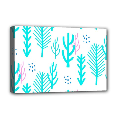 Forest Drop Blue Pink Polka Circle Deluxe Canvas 18  X 12   by Mariart