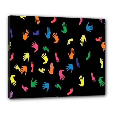 Hand And Footprints Canvas 20  X 16  by Mariart