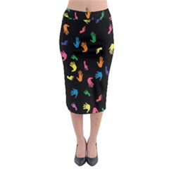 Hand And Footprints Midi Pencil Skirt by Mariart