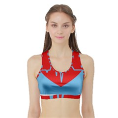 Heartbeat Health Heart Sign Red Blue Sports Bra With Border by Mariart