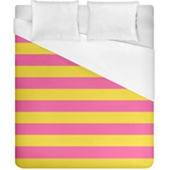 Horizontal Pink Yellow Line Duvet Cover (california King Size) by Mariart