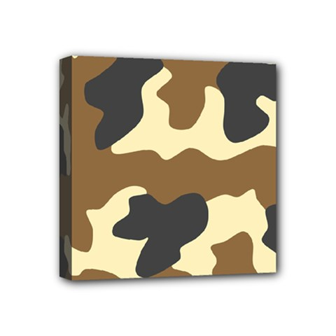 Initial Camouflage Camo Netting Brown Black Mini Canvas 4  X 4  by Mariart