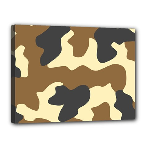 Initial Camouflage Camo Netting Brown Black Canvas 16  X 12  by Mariart