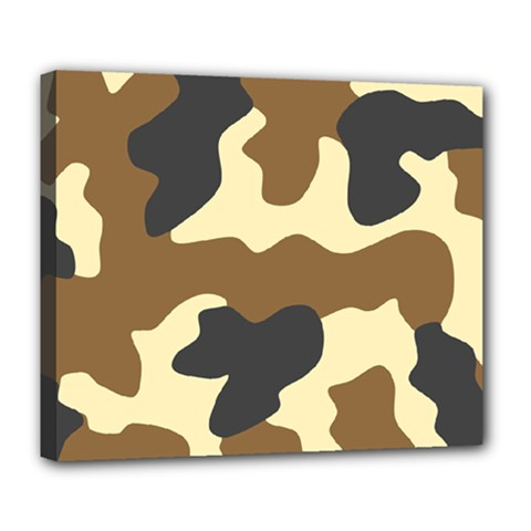 Initial Camouflage Camo Netting Brown Black Deluxe Canvas 24  X 20   by Mariart