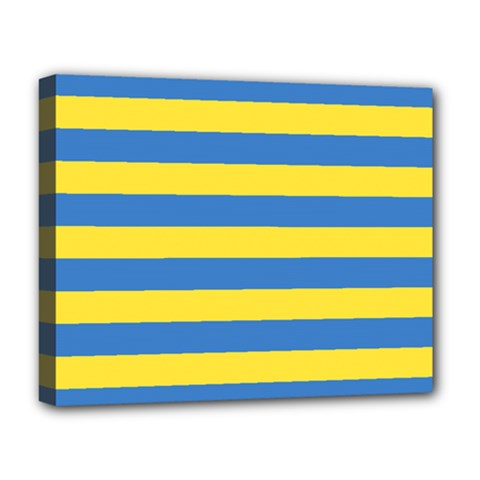 Horizontal Blue Yellow Line Deluxe Canvas 20  X 16   by Mariart