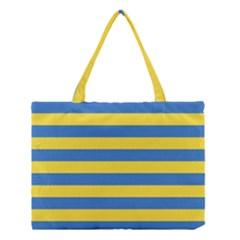 Horizontal Blue Yellow Line Medium Tote Bag by Mariart